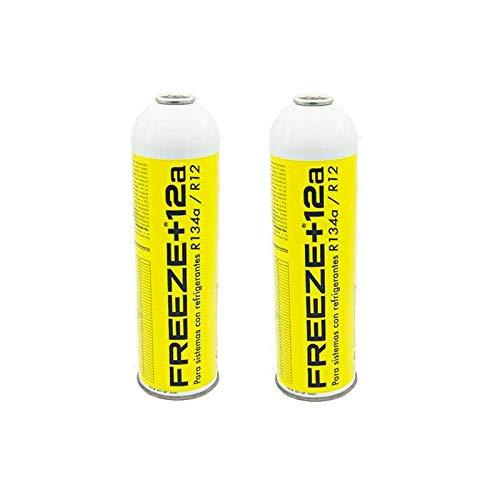 REPORSHOP - 2 Botellas Gas Ecologico Refrigerante Freeze +12a 420Gr Organico Sustituto R12, R134A