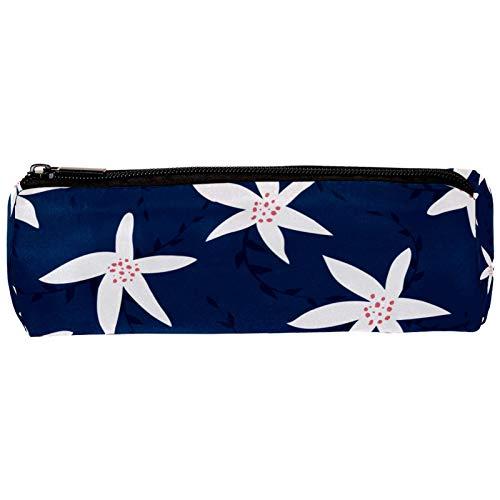Estuche para lápices con diseño de flores blancas y fondo azul marino, con cremallera, organizador de monedas, para mujeres, adolescentes, niñas y niños