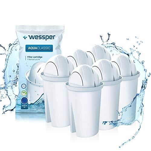 Wessper AquaClassic Cartuchos de filtrado de Agua, Compatible con BRITA Classic, Dafi Classic, PearlCo - 6 Unidades