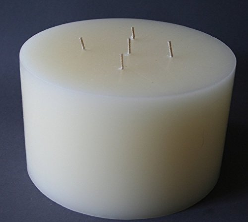 Mehrdochtkerze, Kerzen, groß, Stumpen, rund, creme, elfenbein, beige, Durchmesser 19,4 cm, H:12 cm, 5 Dochte, Unikat