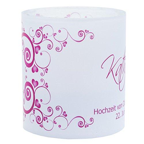 Meine Hochzeitsdeko Tischkarte Windlicht Herzrasen Bordeaux Rot mit Druck: Platzkärtchen, Tischkärtchen, Tischdeko für Hochzeit, Geburtstag, Taufe, Kommunion