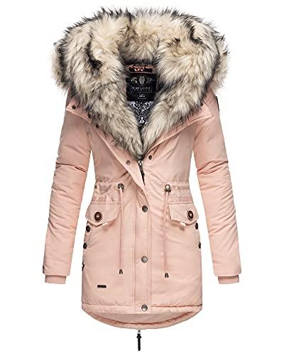 Navahoo Damen Winter Jacke Stepp Parka Mantel Winterjacke warm gefüttert Kunstpelz Sweety S-XXL (Rosa, L)