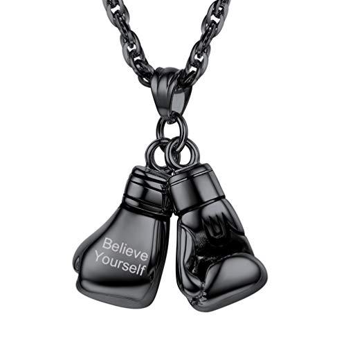 PROSTEEL Herren personalisiert Kette schwarz Edelstahl Anhänger mit Kette Sportliche Name Gravur Handschuhe Boxhandschuhe Halskette Sportliche Modeschmuck Geschenk für Weihnachten Geburtstag