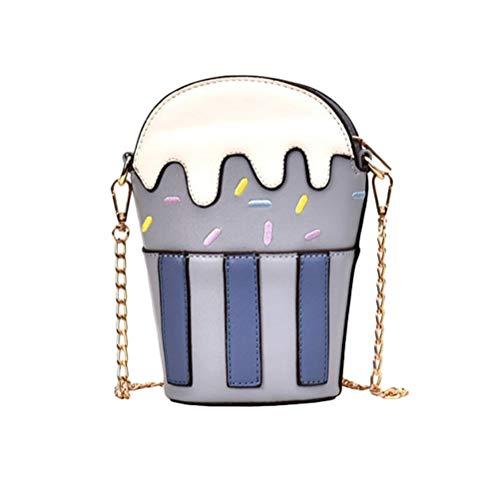 Destacado por linda decoración, más de moda y encanto. Adecuado para compras, vacaciones, viajes, etc. Pequeño pero puede contener fácilmente las necesidades cuando sale, como billetera, teléfono, lápiz labial y pequeñas cosas. La forma de helado, li...