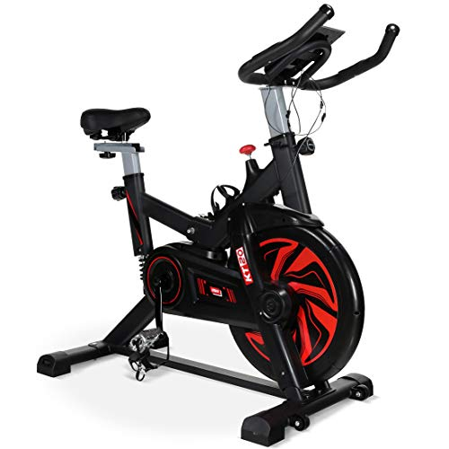 Exercise Bike 13Lbs Flywheel Cycling Exercise Stationary Bikes for users up to 175cm Cardio Indoor Workout Machine Bike Belt Drive Resistance Levels with LCD Digital Monitor & Pulse for Home Gym Lose Weight