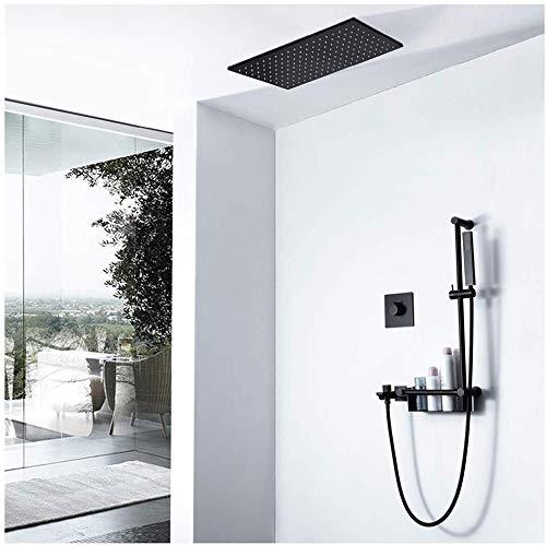 Juego de ducha empotrable LED para agua fría y caliente con estante para ducha, montaje en pared, rectángulo negro