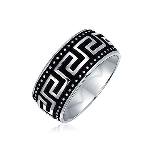 Geométrico antiguo traste griego clave patrón plano anillo de boda para hombres mujeres negro plata de dos tonos acero inoxidable 8MM