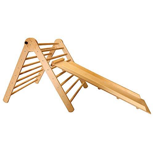 Pikler Dreieck Triangel Kind ˝TriAngel-Lak-80˝ Baby Holz Kletternetz Kletterwand Spielplatz mit Rutschbahn