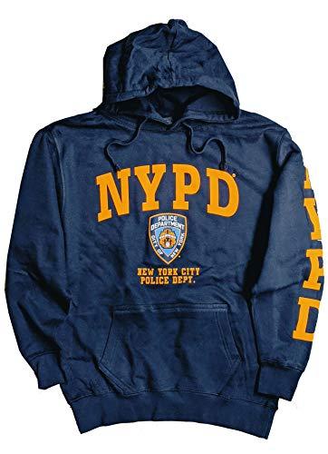 NYPD Hoodie Sweatshirt mit gelbem Aufdruck, Dunkelblau Gr. S, navy