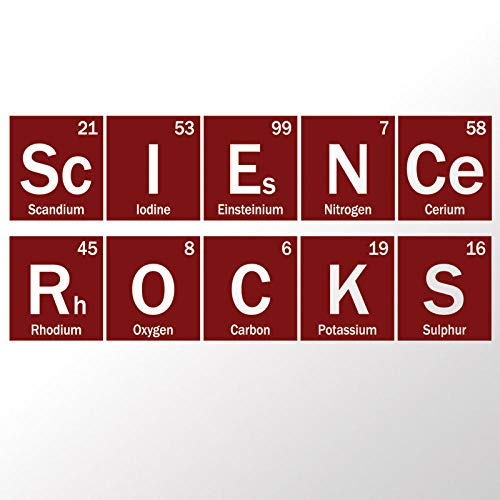 Terilizi Science Rocks Periodieke Vinyl Decal Sticker, Klaslokaal, Schoolchemie Dorm Decal, Tafel met Elementen Decoratie -128X57Cm Rode Wijn
