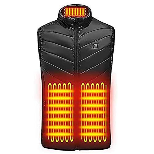 Colete aquecido para mulheres e homens, 3 níveis de temperatura ajustável elétrico colete quente 9 painéis de aquecimento, Preto, L