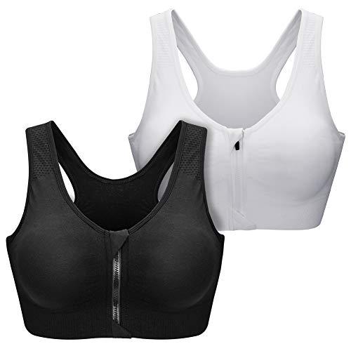 SANMIO Damen Sport BHS, Sport Bra Bustier für Frauen Racerback Medium High Impact Sport Fitness Yoga 3 Packs für Radfahren,Joggen,Boxen
