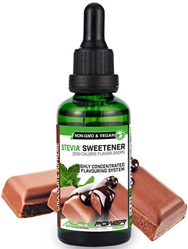 ALPHAPOWER FOOD: Stevia liquida, (1 x50ml Gusto crema di cioccolato) Gusto liquido, Gocce aromatizzanti e dolcificante senza zucchero sostituto dello zucchero & calorie, dolcificante naturale, vegano