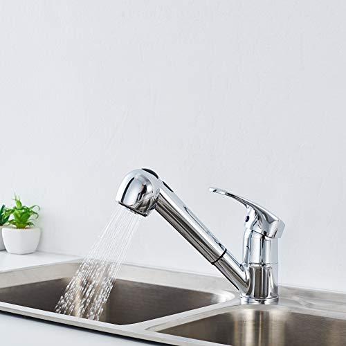 Auralum küchenarmatur Ausziebar 360° Drehbar Küche Wasserhahn Einhandmischer Mischbatterie mit 2 Strahlarten heiß- und Kaltwasser Spültischarmatur