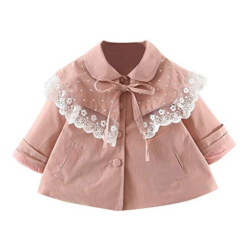 Toddler Baby Kids Girls Solid Lace Ruffles Cappotto Antivento Capispalla Abiti Casual Abbigliamento Bambina Invernale Giacca Felpe Cappotto Piumino Neonato