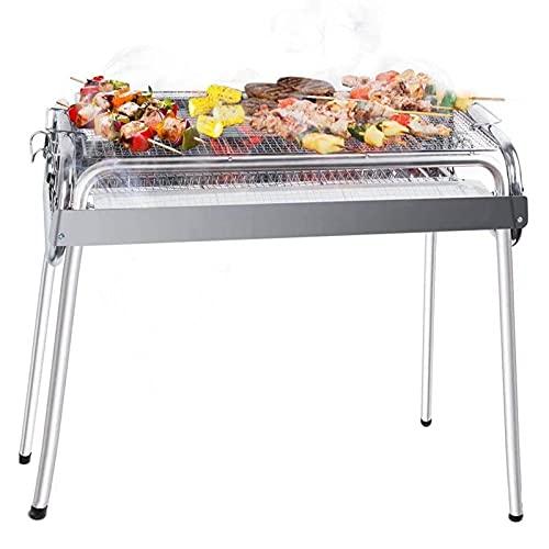 AGM Holzkohlegrill Charcoal Barbecue, 700x310x700 mm | Großer abnehmbarer Grill für 5 ~ 10 Personen | 430 & 304 Edelstahl | für Picknick, Reisen, Garten, Camping
