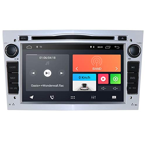 hizpo Android 10 Autoradio DVD-Player mit Bluetooth GPS-Navigation 7 Zoll Touchscreen Lenkradsteuerung WiFi 4G USB SD CAM-In passend für Opel Antara Vectra Crosa Vivaro Zafira Meriva(Silber)