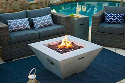 AKOYA Outdoor Essentials 34' Fiber Concrete Outdoor Propane Gas Fire Pit Table Square Bowl in Gray