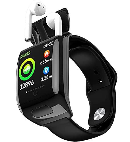 Pulsera Inteligente con Combinación de Auriculares Inalámbricos Bluetooth - Auriculares TWS Llamada con Auriculares Dobles - Rastreador de Actividad Física con Auriculares Reloj 2 en 1 Inalámbrico