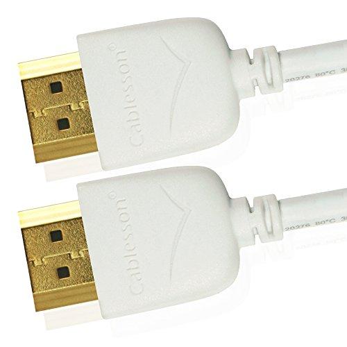 Cablesson Câble HDMI Mackuna Slim Flex Haut Débit 0.5m de 4k, 3D, Full HD, 2160p, HDR, Arc, Ethernet - (HDMI 2.1/2.0b/2.0a/2.0/1.4) **Design Extra Fin** - Blanc
