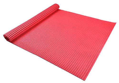 SIENOC Weichschaummatte | Rutschfester Bodenbelag für Küche, Bad, Balkon, Camping | abwaschbar & schnelltrocknend |Meterware 65 cm breit Rutschfester PVC Badvorleger (65x200 cm (BxL), Rot)