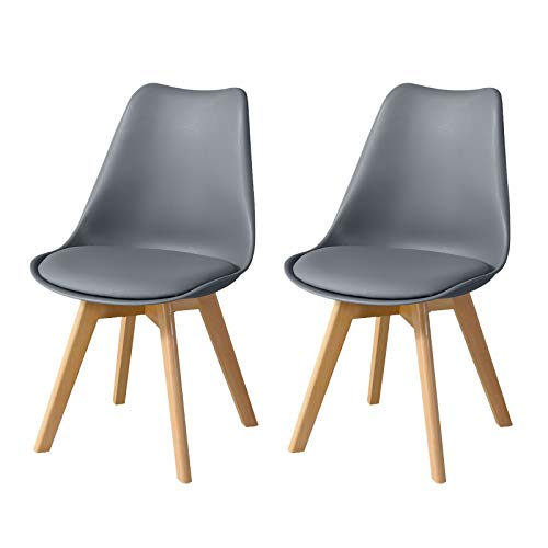 CLIPOP Set of 2 Dining Chairs Grey Upholstered Kitchen Chairs with Wooden Legs and Soft PU Seat, Retro Lounge Corner Chairs for Office Kitchen Furniture