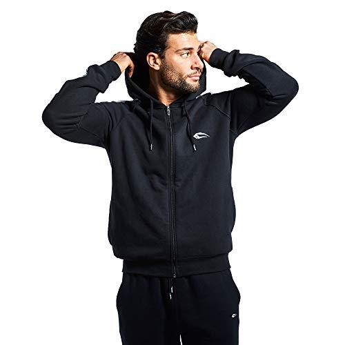 SMILODOX Jacke Herren Sport Fitness Gym Freizeit Trainingsjacke Fitnessjacke, Farbe:Schwarz, Größe:L