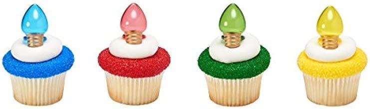 Light It Up Festive Holiday Christmas Lights/Light Bulbs Cupcake Topper Rings - Pack of 24