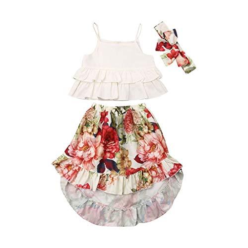 Janly Clearance Sale Conjunto de trajes para niñas de 0 a 5 años, camiseta con volantes, faldas florales, diadema, para niños grandes de 4 a 5 años (beige)