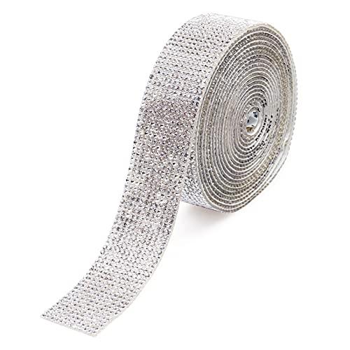 Strass di cristallo Nastro di diamanti Decorazione fai da te Adesivo con strass da 2 mm per la decorazione del telefono per auto di casa e artigianato artistico (argento, 1,06 pollici x 3 iarde)