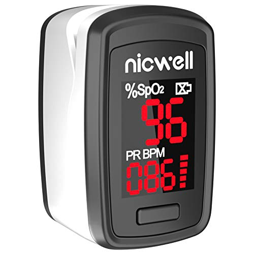 Pulse Oximeter, Pulse Oximeter Fingertip Blood Saturation Oxygen Sensor with with LED Display Portable SpO2 PR Monitor for Oxygen