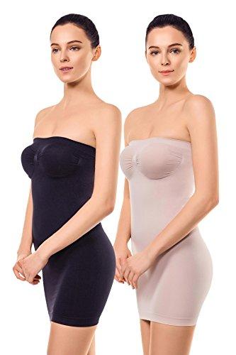 +MD Fajas de Tirantes sin Tirantes para Mujer Deslizamiento Completo de Control de la Barriga sin Fisuras dirigida dirigida sin Fisuras Vestidos Debajo de los Vestidos