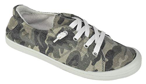 Soda Flat Women Shoes Linen Canvas Slip On Sneakers Lace Up Style Loafers Zig-S Camouflage Print Camo Khaki Green 6.5