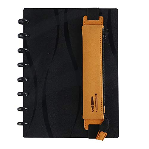Eagle Leather Pen Pencil Pocket Case Sleeve Holder Pouch Bag,Zipper with Elastic Band,for Discbound Notebooks,Notebooks,Journal or Planner,Pack of 1(Yellow)