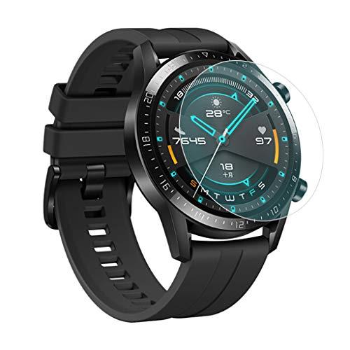 JShisxnuid beschermfolie voor Huawei Watch GT2 46mm Smartwatch, 9H hardheid, anti-olie, krassen en luchtbelvrij, gehard glas screen protector voor Huawei Watch GT2 46mm