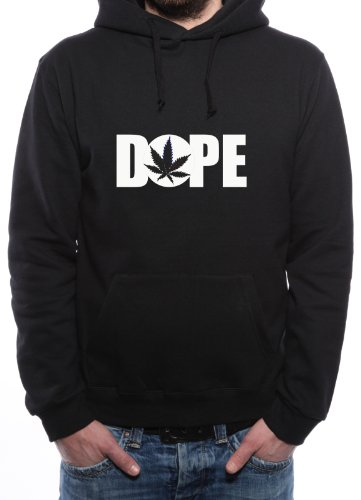 Mister Merchandise Hoodie Kapuzenpullover DOPE Cannabis Marihuana, Größe: XXL, Farbe: Schwarz