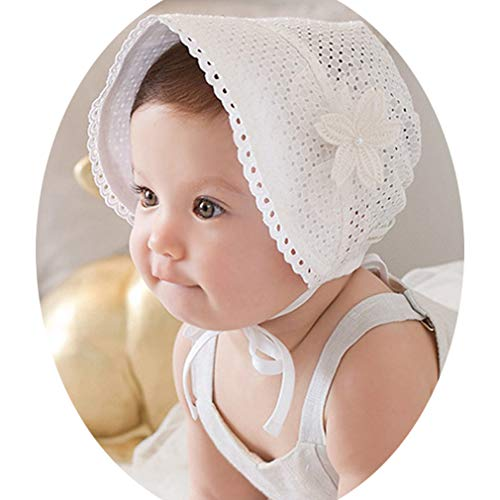 YAOXI Sommer-Baby-Sonnenhut-Spitze-Blumen-Prinzessin-Girls Cap Solid Color Hohle Kind-Hut Retro Lace Up Palace Beanie,Weiß