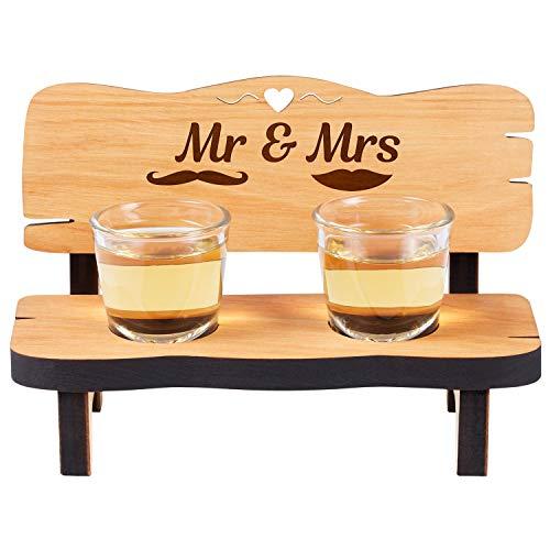 Geschenke 24 Chupito Banco con 2vasos y grabado: personalizada regalo de boda de madera con nombres y texto en inglés de gravierte Regalos para enamorados San Valentín, Aniversario o Bodas
