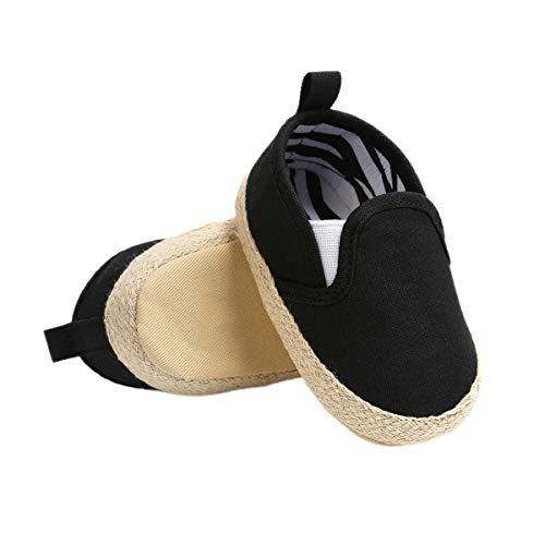 DEBAIJIA Bebé Primeros Pasos Zapatos 6-12M Niños Suave Suela Antideslizante Ligero Slip-on Zapatillas 18 EU Negro (6-12)