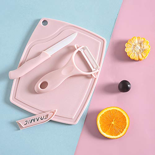Cutting Board Knife Peeler Set Kitchen Cutlery Ceramic Knives Set Premium for Fruit and Vegetable 3-Pieces, Pink