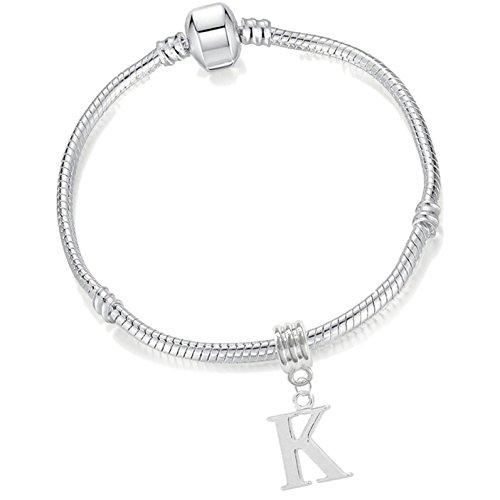 Girls 17cm Silver Plated Starter Charm Bracelet with Initial Letter 'K'