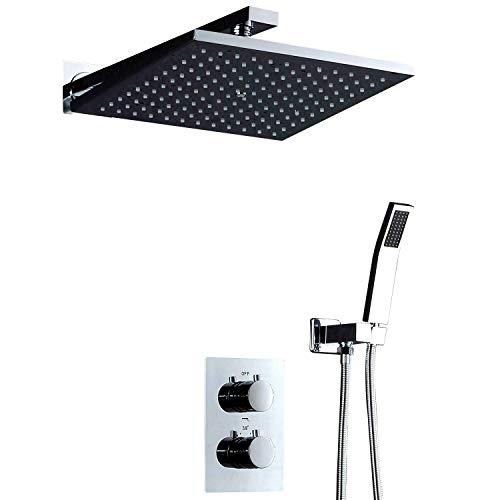 Setyn Shower Set Sistema de Ducha de Ducha con Ducha de Lluvia Conjunto de Sistema de Ducha termostático, 10'(Color: Plata, Tamaño: 10') Baño