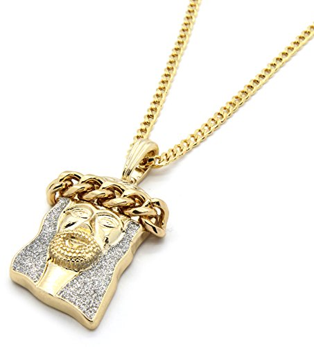 Mens Gold Tone Silver Color Stardust Cuban Crown Jesus Pendant 3mm 30' Cuban Necklace Chain