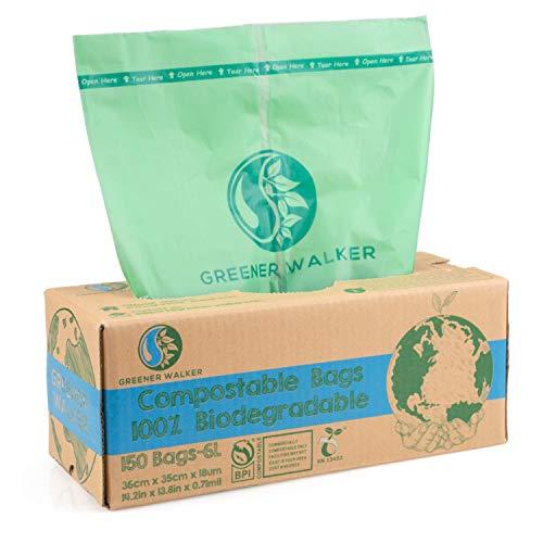 Greener Walker 6L-150Beutel 100{a3e5f01a97b65a69f9e5638ace136e3ef5533327c583c90dd4378556cec81cd5} Kompostierbare biologisch abbaubar Müllbeutel 6L/10L/30L Küchen Lebensmittel Abfallbeutel mit EN13432 Zertifizierung