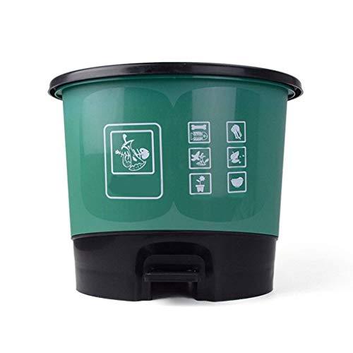 LZZB Juego Combinado de Bote de Basura, Bote de Basura Redondo, Inodoro de Cocina para el hogar con Tapa, Desodorante, Bote de Basura, plástico, Tipo Pedal, Suministros de clasificación de Basura