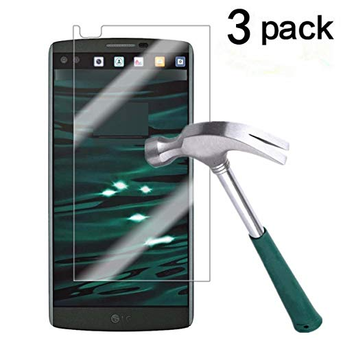TANTEK YYY32 Bubble-Free, HD-Clear, Anti-Scratch, Anti-Glare, Anti-Fingerprint, Premium Tempered Glass Screen Protector for LG V10-3 Piece
