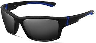 QWKLNRA - Gafas De Sol para Hombre Negro Y Azul Marco Negro Lente Polarised Sports Gafas De Sol Ciclismo Gafas Gafas Deportivas para Hombre Gafas De Sol Deportivas Deportivas Deportivas Bicicletas Hom