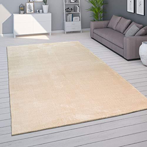 Tapis de Salon Unicolore Lavable Pile Courte et Douce, Dimension:140x200 cm, Couleur:Beige