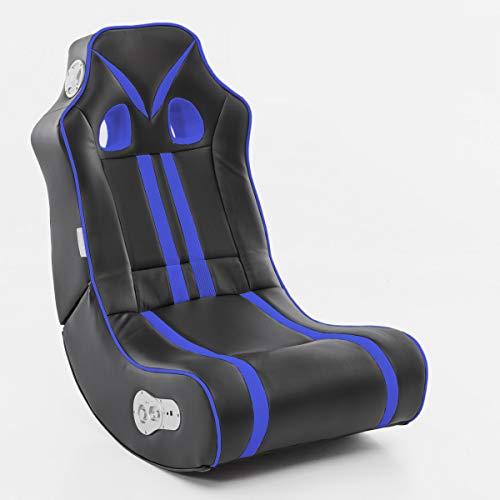 Wohnling® Soundchair Ninja in Schwarz Blau mit Bluetooth | Musiksessel mit eingebauten Lautsprechern | Multimediasessel für Gamer | 2.1 Soundsystem - Subwoofer | Music Gaming Sessel Rocker Chair
