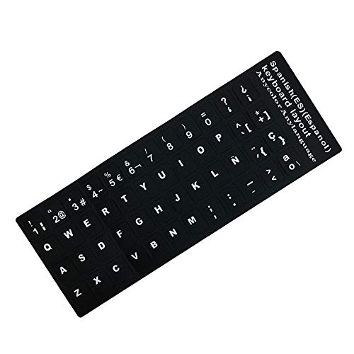 Haihuic Español Pegatinas de Teclado, Etiqueta Adhesiva de Vinilo Mate con Letras Blancas para PC Computadora Portátil Portátil Teclados de Escritorio